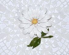 Vintage White Yellow Green Enamel Metal Spring Flower Brooch Pin