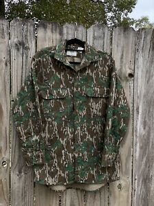 VTG Mossy Oak Chamois Greenleaf Camo Mens MED/ Large LS button Hunting Shirt