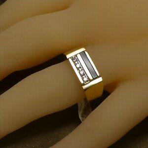 14K Yellow Gold Onyx 4 Round Brilliant Cut Diamonds Men's Ring 0.16 Ct's H SI