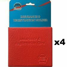 """4 Red CAR INSURANCE REGISTRATION HOLDER WALLET 5.25""""x4.6"""" Embossed Faux-Leather"""