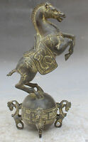 Collect Chinese feng shui Bronze Successful Dragon Horse On Ball Beast Statue NR
