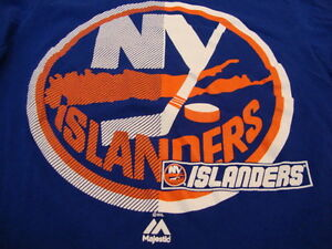 NHL New York NY Islanders National Hockey Fan Majestic Apparel Blue T Shirt S