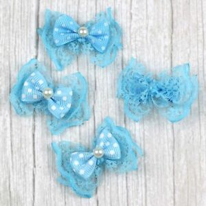 20/50/100Pcs Pearl Lace bow Satin Ribbon Flowers DIY Wedding Appliques Bowknot