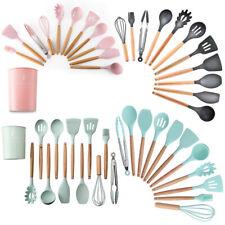 11 piezas Juego de utensilios de cocina de silicona de Mango de madera Batidor