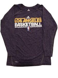 LA Lakers Basketball Purple T-Shirt Adidas Sz Youth Small Climalite Long Sleeved