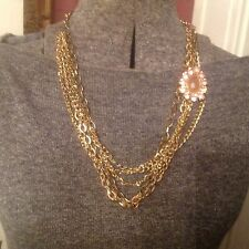 JC Penney Gold color and Rose stone statement necklace