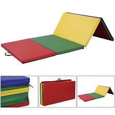 8FT Folding Gymnastics Tumble Floor Mat Yoga Exercise Fitness Pilates Gym Colors