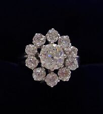 Antique 1.75ct Diamond Cluster Ring in 18ct White Gold - Size M