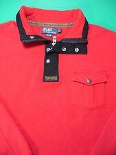 Vtg Polo Ralph Lauren 1/2 Zip Snap Pullover Sweater Jacket Men's  XL Red