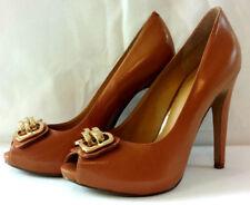 Nine West Womens Shoes Heels Sz 8 Slip On Camel Beige Gold Chain Buckle