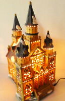 Grandeur Noel Cathedral Victorian Christmas Village  2002 electric ambient light