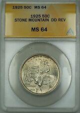 1925 Stone Mountain DD REV Commemorative Silver Half 50c Coin ANACS MS-64 (A)