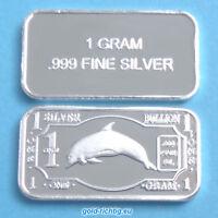 1 Gramm Silberbarren - Delfin (Silber Feinsilber Silver Dolphin Barren) NEU
