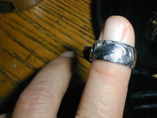 New Old Stock 14kt White Gold Hand Engraved Wedding Band 6.2 grams,4.75 size