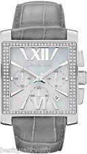 NEW-MICHAEL KORS GIA SILVER GLITZ GRAY LEATHER CHRONO ROMAN NUMBERS WATCH-MK5674