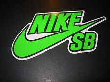 "NIKE 6.0 SB Skate Sticker Swoosh Green Black 6"" skateboard helmet decal"