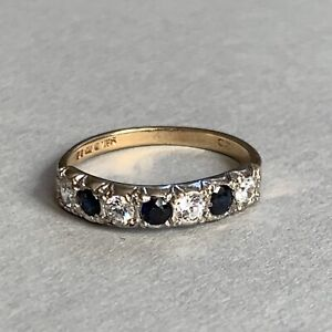 Vintage 9ct Gold Sapphire and Cubic Zirconia  Ring Size O