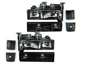 Euro Clear Black Headlights + Park Signal Lights for 94-99 Chevy C/K Full Size