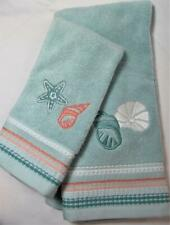 SEASHELL BEACH Hand & Tip Towel Set Shells Embroidered on Blue Cotton Towels