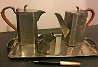 Vintage Art Deco Civic Pewter Tea / Coffee Set With Tray English Pewter