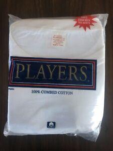 Players Big Men's White Cotton Crew Neck T Shirt undershirts 2 Pack 4X to 9-10X