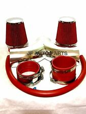 """3.5"""" RED Dual Twin Air Intake Induction Kit + Filter For 01-04 Corvette 5.7L V8"""