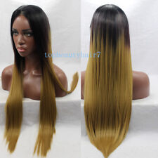 Honey Blonde Ombre 3 Tone Color Lace Front Wig Synthetic Hair Straight