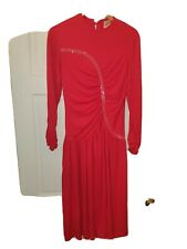 Red beaded cocktail evening dress long sleeves John Charles vintage 10 12