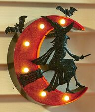 LIGHTED WITCH AND MOON MARQUEE SIGN WALL DOOR HALLOWEEN OUTDOOR PATIO HOME DECOR