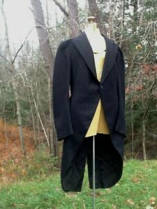 """Vintage Antique 1800's early 1900's WOOL TUXEDO w/ Tails chest 40""""  Length 45"""""""