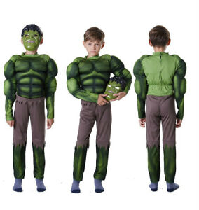 Halloween Boys Muscle Hulk Cosplay Costume Mask Kids Party Fancy Dress Up Gfts
