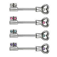 Surgical Steel Heart Key Nipple Ring / Barbell With CZ gems