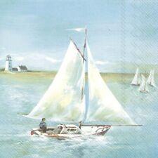 4 Single paper decoupage napkins. Boat, ship, seaside, sail, sky, blue - 688