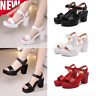 Womens Ankle Strap Platform Slingback Beach Sandals Block Heel Peeo Toe Shoes GS