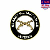 Us Army Military Police Veteran 4 pack 4x4 Inch Sticker Decal