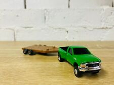 ERTL Ford F350 Green Pickup Truck with Brown Flatbed Trailer 1/64 Diecast