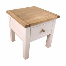 Pine Lamp Table With Drawer White & Wax Finish