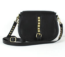 MMS Black Vegan Leather w Metal Accents Small Messenger Crossbody Bag Purse