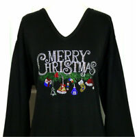 PLUS 3X Top Rhinestone Embellished MERRY CHRISTMAS W/Dangling Ornaments Design