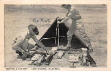 ERECTING A PUP TENT CAMP ROBERTS CALIFORNIA MILITARY POSTCARD 1942