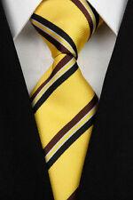 BE0182 Yellow Black Stripe Man Classic JACQUARD Woven Necktie Tie Formal
