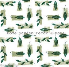 Green White Leaf Brush Stroke Vinyl Contact Paper Shelf Drawer Liner Peel Stick