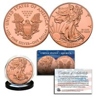 2020 Genuine 1 OZ .999 Fine Silver American Eagle US Coin - FULL 24KT ROSE GOLD