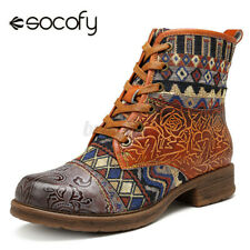 SOCOFY Women Cowgirl Splicing Pattern Leather Shoes Zipper Lace Up Ankle Boots
