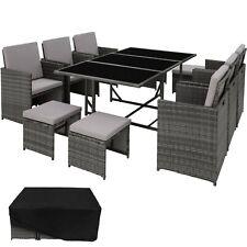 Poly Rattan Set di mobili da giardino da pranzo 6 SEDIE 4 SGABELLI 1 tavolo da esterno grigio