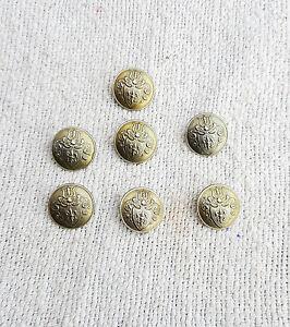 Vintage Button Set 7 Pcs. Coat Of Arms-British War Metal Collectible , England