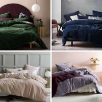 New Linen House Deluxe Velvet Quilt Cover Set Range Ivy, Lavender, Navy, Peach