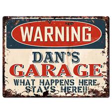 PPFG0179 WARNING DAN'S GARAGE Tin Chic Sign Home man cave Decor Funny Gift
