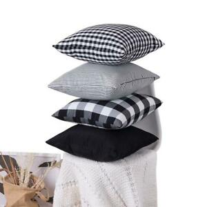 Check Plaid Throw Pillow Covers Decorative Christmas Cushion Covers Cotton Linen