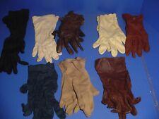 8 Pair Lot Assorted Vintage Ladies Gloves Black Brown Navy Beige One Owner